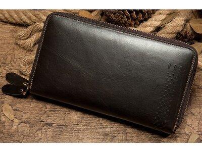Клатч мужской коричневый кожаный на руку, ладонь стильный удобный вместительный