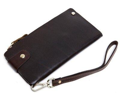 Клатч мужской коричневый стильный кожаный удобный