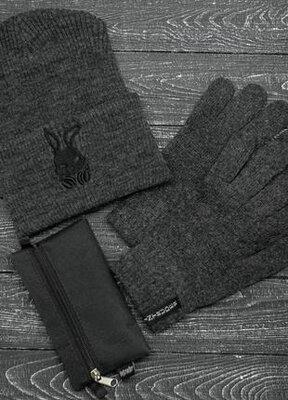 Комплект шапка перчатки intruder bunny logo серого цвета