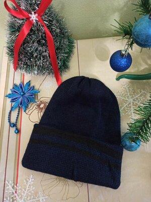 мужская шапка вязаная двойная с отворотом теплая шапочка цвет синяя с черным 50 шерсть чоловіча нова