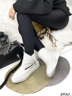 Женские натуральные замшевые кожаные зимние ботинки на молнии