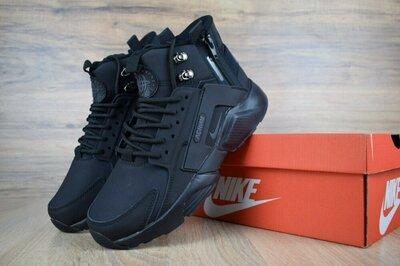 Кроссовки мужские зимние Nike Huarache Acronym черные Sale скидка