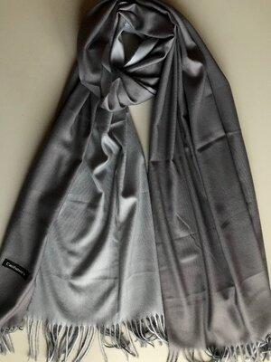 Двусторонний кашемировый шарф серый/светло-серый