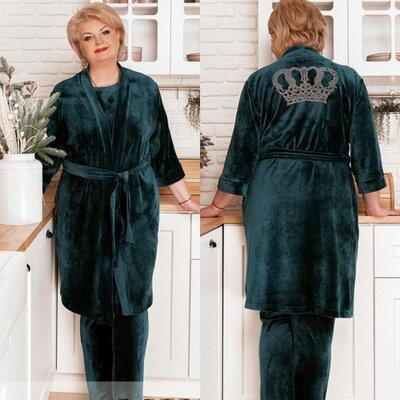 Костюм домашний 3-ка, стразы на спине, Хлопок 80%, пижама халат 50-68