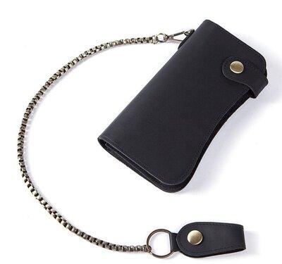 Компактный клатч мужской, вместительный кошелек на цепочке стильный удобный натуральная кожа
