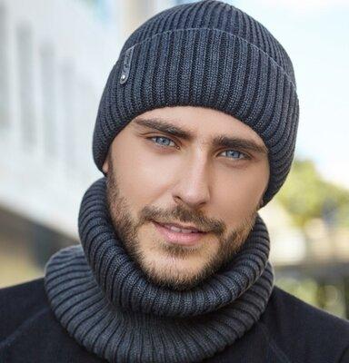 Мужская теплая шапка хомут комплект