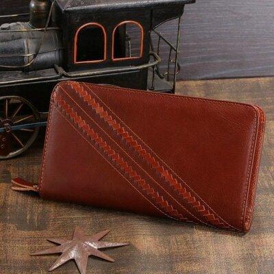 Клатч мужской светло-коричневый рыжий кожаный стильный, вместительный кошелек с ремешком