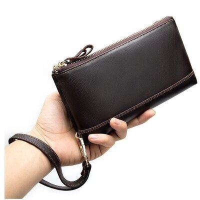Клатч мужской коричневый кожаный стильный функциональный ремешок на руку