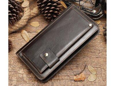 Клатч мужской коричневый кожаный стильный, удобный, ремешок на ладонь
