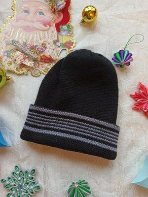 мужская шапка вязаная с отворотом. шапочка двойная цвет черный с серым 50 % шерсть чоловіча новая