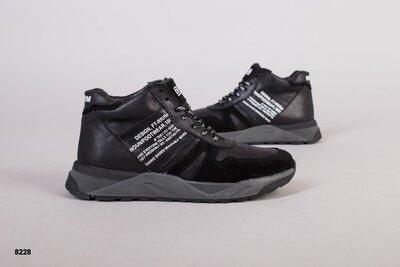 Мужские зимние ботинки из натуральной кожи на меху, код ks-8228