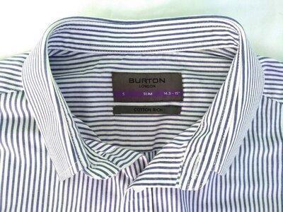 Рубашка Burton Slim разм.S 14,5-15 мужская зауженная сорочка полоска