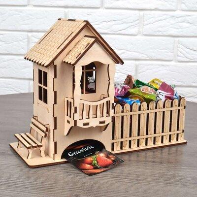 Подарок на праздники Конструктор деревяный 3D пазл Домик чайный и конфетница