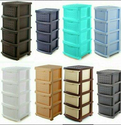 Пластмассовый комод, шкафчик, органайзер, тумбочка на 4 ящика для вещей.