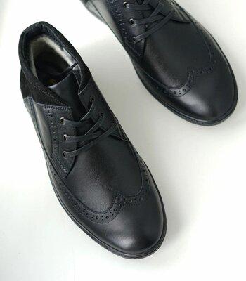 Натуральные кожаные мужские зимние ботинки сапоги броги оксфорты на меху теплые качественные