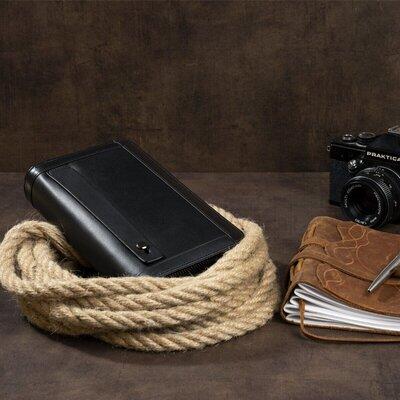 Клатч мужской кожаный черный удобный 2 отделения, на руку, ладонь