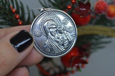 Срібна ладанка підвіска іконка Богородиця Казанська унісекс 925