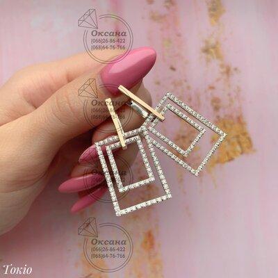 жіночі срібні сережки з цирконом фіанітами, женские серебряные серьги сережки с фианитами