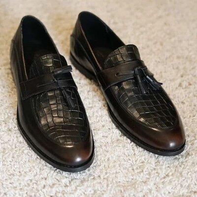 Кожаные натуральные стильные мужские туфли мокасины лоферы праздничные нарядные