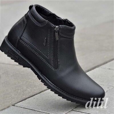 Ботинки мужские зимние кожаные черные теплые - чоловічі зимові черевики шкіряні чорні