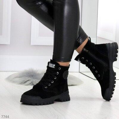 Продано: Ботинки натур замш черный Зима-- Шикарные