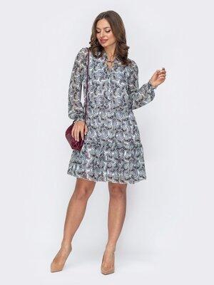 Шифоновое платье-трапеция с принтом. 3 цвета