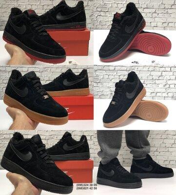 Зимние мужские кроссовки ботинки Nike Air Force Winter. Натуральная замша с мехом.