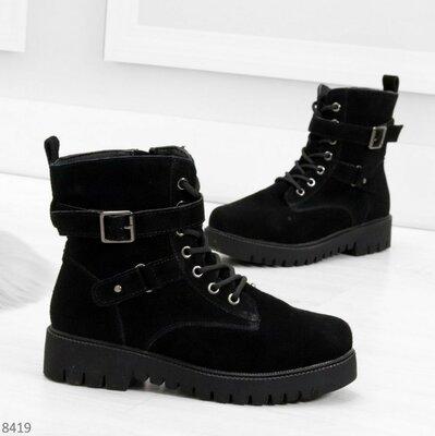 Продано: Удобные черные женские замшевые зимние ботинки из натуральной замши