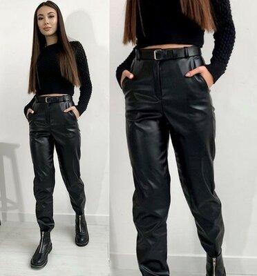 Женские брюки кожаные на флисе Muse | Норма и Батал