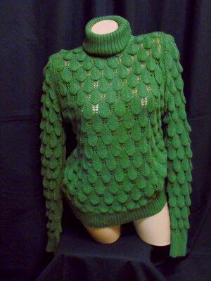 Шикарный свитер Очень красивый с высоким воротом - хаки - M - L