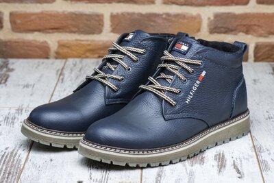 Продано: Теплые кожаные зимние ботинки со змейкой черные