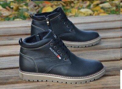Мужские зимние кожаные ботинки Tommy Hilfiger черне со змекой