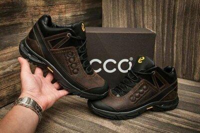 Мужские зимние кожаные тёплые ботинки Ecco