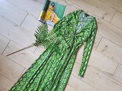 Стильное пляжное платье макси накидка в анималистический принт s m