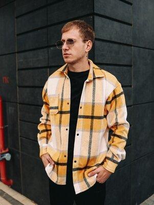 Зимняя теплая мужская рубашка в клетку байка с начесом и кашемиром ~ зимова чоловіча сорочка