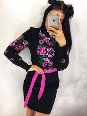 Женские вязаные платья вышиванки