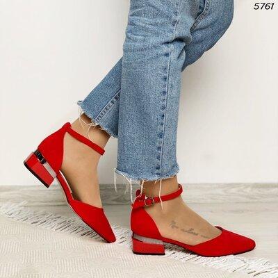 Женские чёрные бежевые красные туфли на ремешке на низком ходу