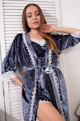 Комплект 063 Christel халат и пижама майка шорты мраморный велюр
