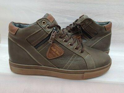Продано: 45р. Скидка Кожаные мужские ботинки ,кожа,мех,хаки,олива