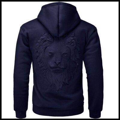 Толстовка с капюшоном, 3D свитер с головой льва код 65 темно-синий