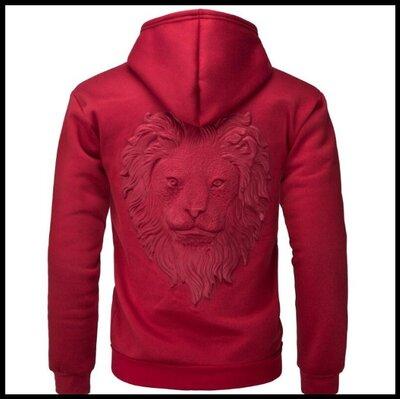 Толстовка, пуловер с капюшоном, 3D свитер с головой льва код 65 красный