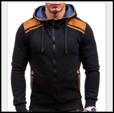 Толстовка , реглан, куртка M, L, XL код 66 чёрная