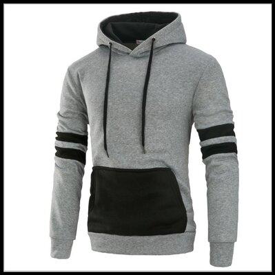 Толстовка , реглан, куртка с капюшоном размер L Вска Код 61 серо-чёрная