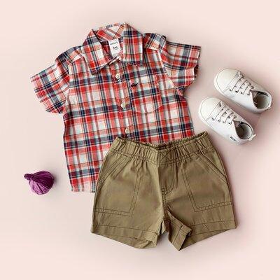 Комплект Carter s на мальчика шортики и рубашка в красную клетку
