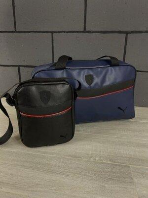 Комплект сумка Puma синяя барсетка Puma черная