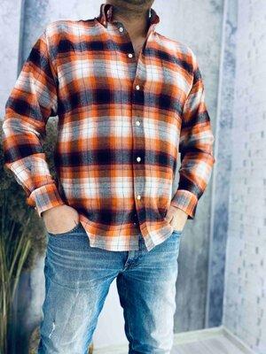 Брендовая, качественная, фабричная мужская рубашка в клетку .