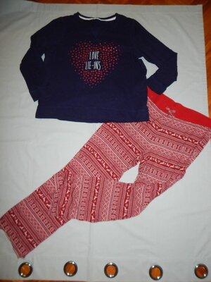 пижама скомбинированная трикотажная кофта с вискозными штанами uk16 eur44