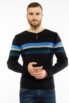 Мужской свитер в полоску и пуговицами в чернильном цвете S-XL