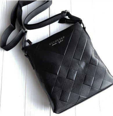 Мужская кожаная сумка мессенджер Burberry black