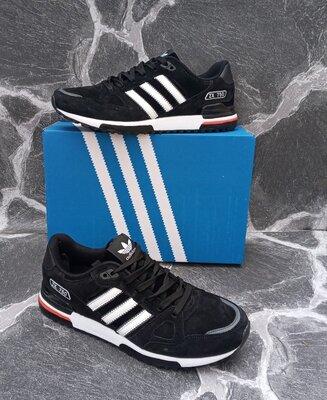 Мужские кроссовки Adidas ZX 750 серые, черные. весенние
